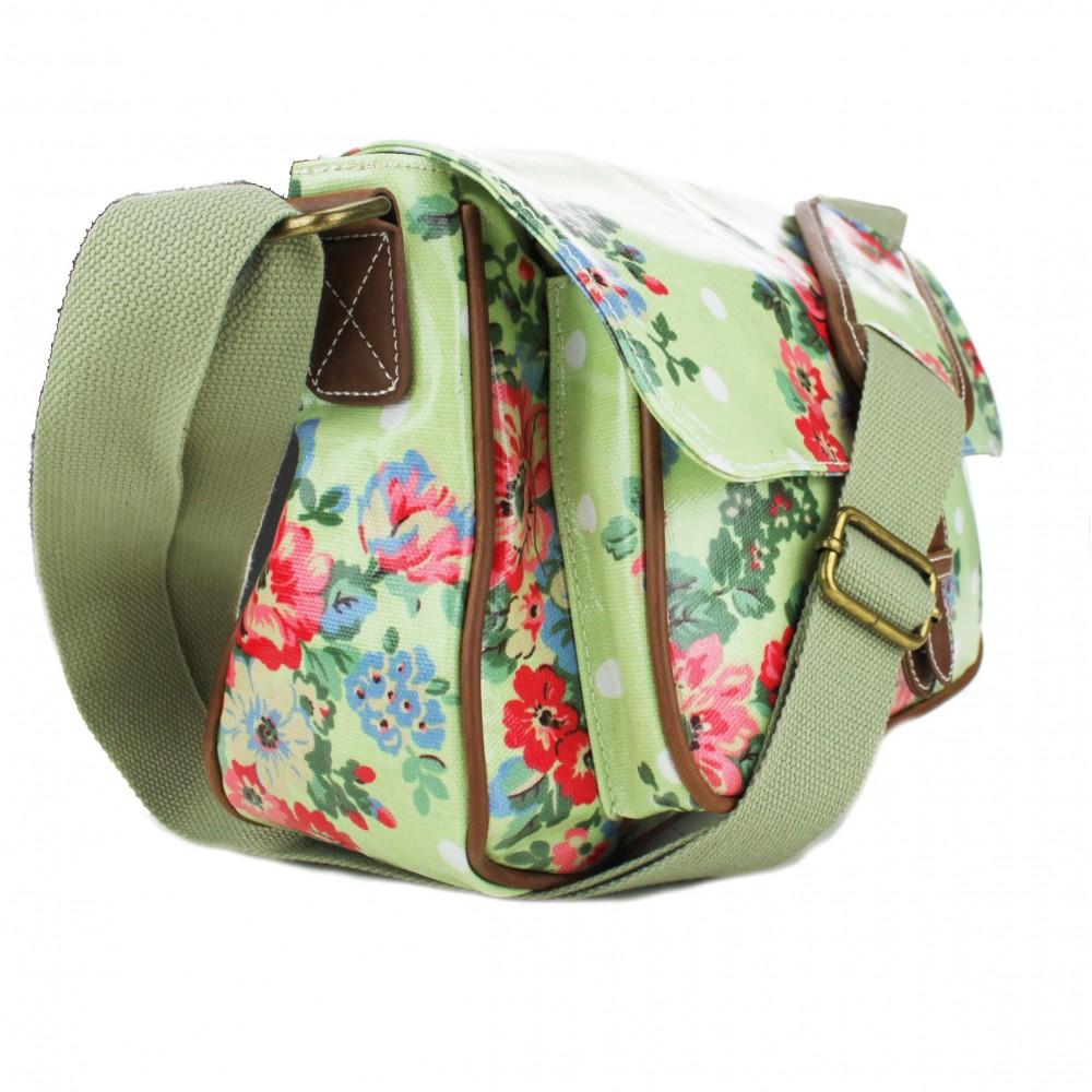 g1108f miss lulu wachstuch kleine blume satchel tasche gr n. Black Bedroom Furniture Sets. Home Design Ideas