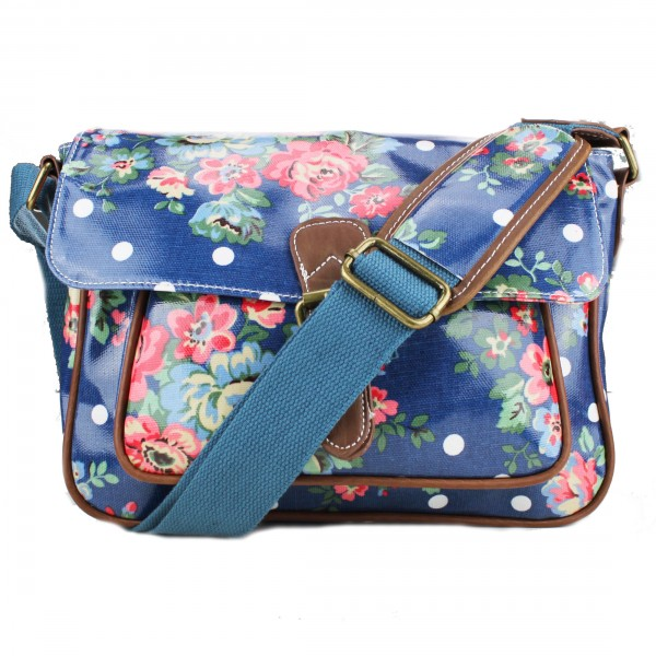 G1108F - Miss Lulu Oilcloth Medium Satchel Flower Polka Dot Navy