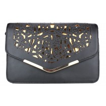 L1407 - Miss Lulu Small Lazer Cut Cross Body Satchel Black