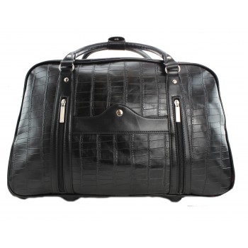 L1151 - Miss Lulu Leather Look Crocodile Print Travel Trolley Black