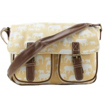 L1157E - Miss Lulu Canvas Satchel Elephant Beige