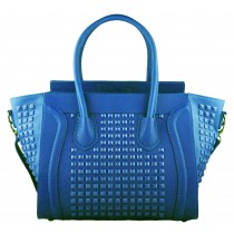 L1158 - Miss Lulu Studded Leather Look Tote Handbag Blue