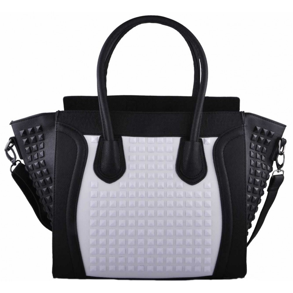 a4c6f872d2d2 L1158 - Miss Lulu Studded Leather Look Tote Handbag Black And White