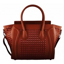 L1158 - Miss Lulu Studded Leather Look Tote Handbag Brown