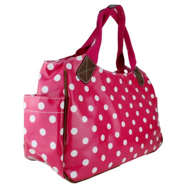 L1105D2 - Miss Lulu Oilcloth Tote Bag Polka Dot Plum