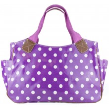L1105D2 - Miss Lulu Oilcloth Tote Bag Polka Dot Purple