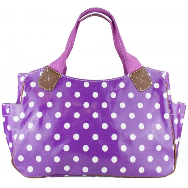 L1105D2 - Miss Lulu Oilcloth Tote Bag Polka Dot Purple