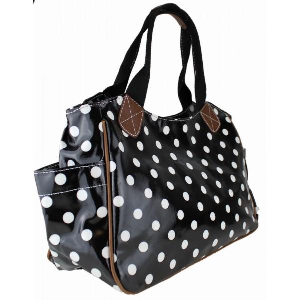L1105D2 - Miss Lulu Oilcloth Tote Bag Polka Dot Black