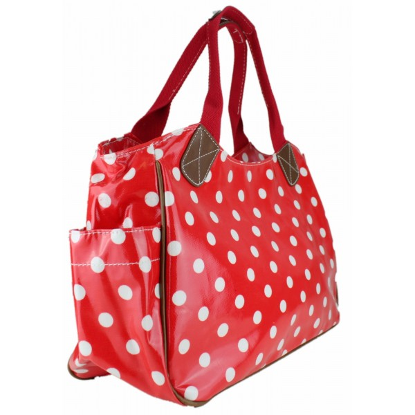 L1105D2 - Miss Lulu Oilcloth Tote Bag Polka Dot Red