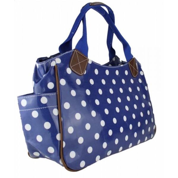 L1105D2 - Miss Lulu Oilcloth Tote Bag Polka Dot Navy