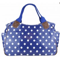 L1105D2 - Miss Lulu Oilcloth Tote Bag Polka Dot Navy