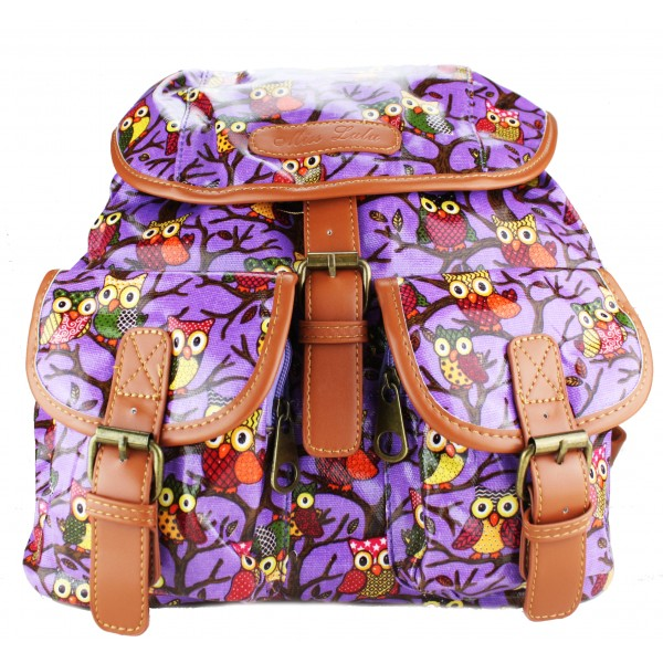 L1103WO - Miss Lulu Oilcloth Backpack Owl Purple