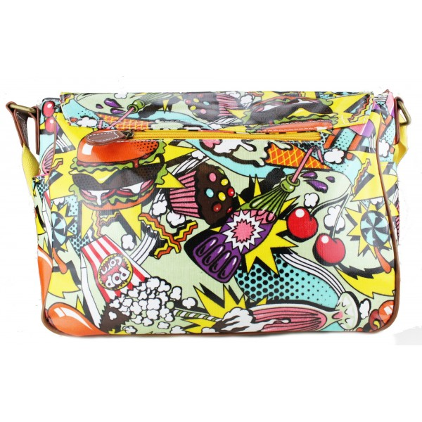 L1107CN - Miss Lulu Oilcloth Satchel Cartoon Food Yellow