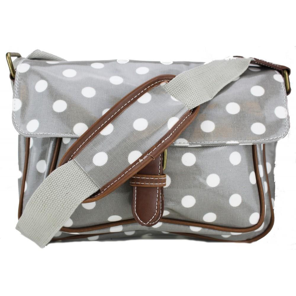 g1108d2 miss lulu wachstuch gepunktet satchel tasche grau. Black Bedroom Furniture Sets. Home Design Ideas