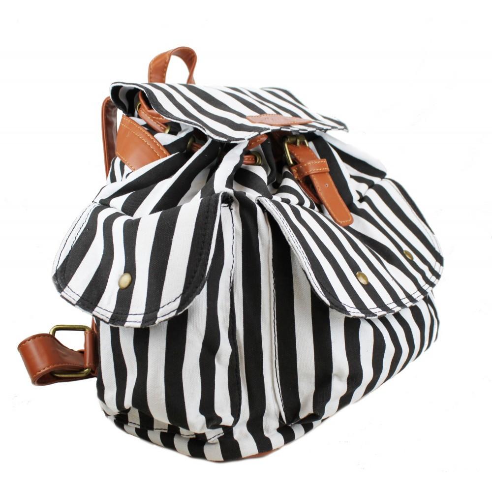 l1123z miss lulu leinwand rucksack streifen schwarz und weiss. Black Bedroom Furniture Sets. Home Design Ideas