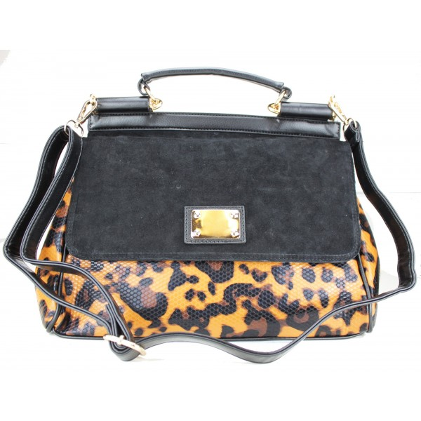 L1136 - Miss Lulu Structured Winter Leopard Handbag Brown