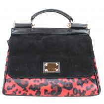L1136 - Miss Lulu Structured Winter Leopard Handbag Red