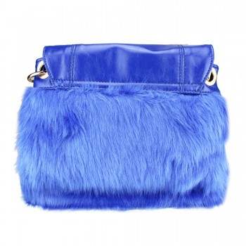 L1138 - Miss Lulu Winter Fur Handbag Blue
