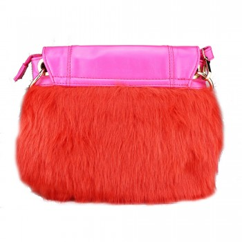 L1138 - Miss Lulu Winter Fur Handbag Plum
