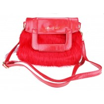 L1138 - Miss Lulu Winter Fur Handbag Red