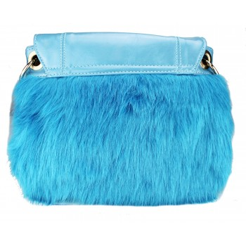 L1138 - Miss Lulu Winter Fur Handbag Slate Blue