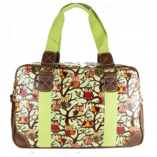 L1106W - Miss Lulu Oilcloth Travel Bag Owl Green