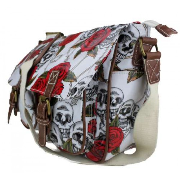L1107SR - Miss Lulu Oilcloth Satchel Skull And Rose White