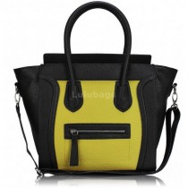 L1101 - Miss Lulu Structured Leather Look Smile Handbag Plain Black And Yellow