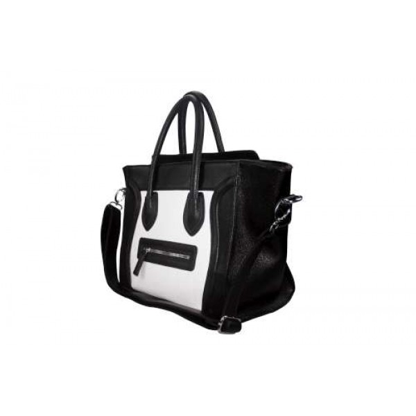 L1101 - Miss Lulu Structured Leather Look Smile Handbag Plain Black And White