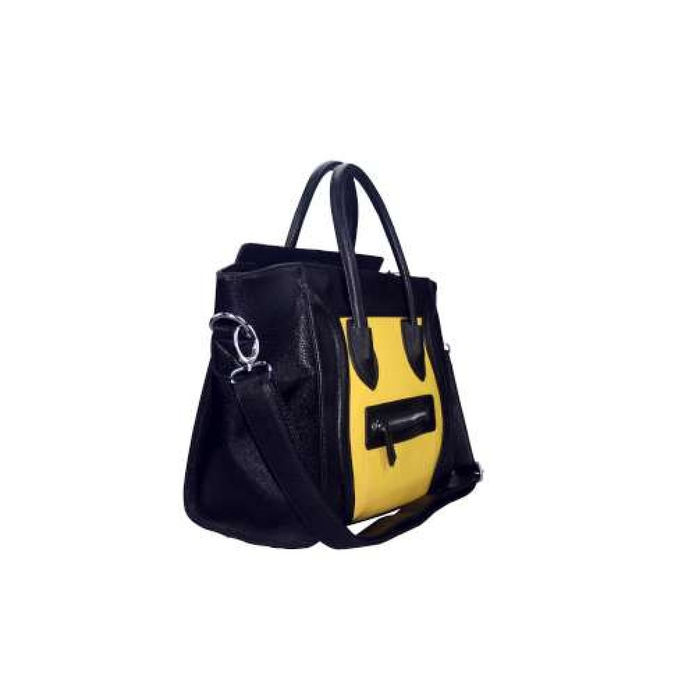 92d9a28d91e6 L1101 - Miss Lulu Structured Leather Look Smile Handbag Plain Black And  Yellow
