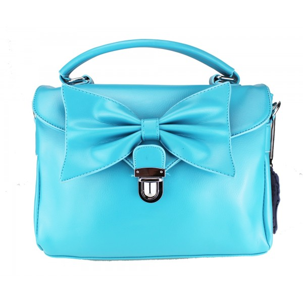 L1131 - Miss Lulu Bow Envelope Handbag Blue