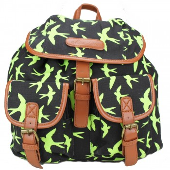 L1103NS - Miss Lulu Canvas Backpack Swallows Green