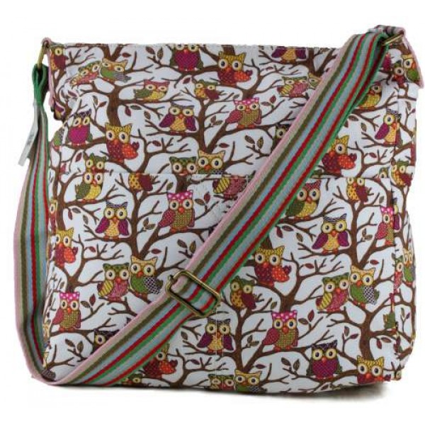 L1104W - Miss Lulu Canvas Square Bag Owl White