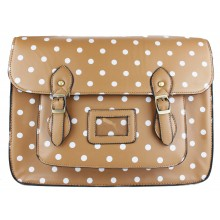 CAMD1 - Miss Lulu Large Satchel Polka Dot Khaki