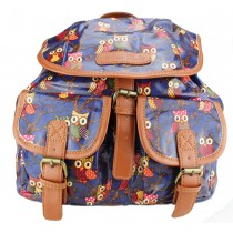 L1103WO - Miss Lulu Oilcloth Backpack Owl Navy