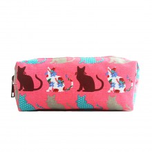 PC - Miss Lulu Canvas Pencil Case Cat Pink