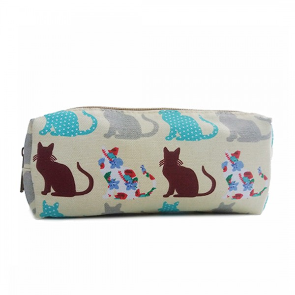 PC - Miss Lulu Canvas Pencil Case Cat Beige