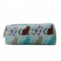 PC - Miss Lulu Canvas Pencil Case Cat Blue