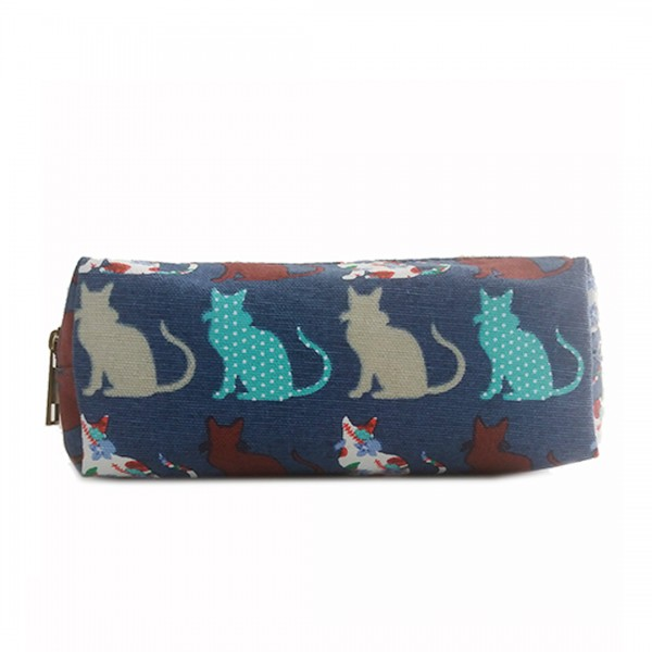 PC - Miss Lulu Canvas Pencil Case Cat Navy