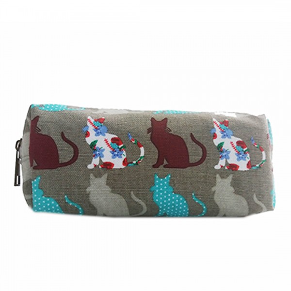 PC - Miss Lulu Canvas Pencil Case Cat Grey