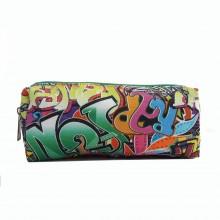 PC-Fräulein LuLu Frauen-Mädchen-Leinwand-Studenten-Feder-Bleistift-Kasten Reißverschluss-Taschen Cosmetic Spielraum-Verfassungs-Beutel-Beutel-Kasten-Graffiti