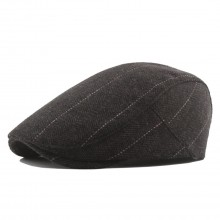 CAP-1 - Men's Newsboy Baker Boy Herringbone Flat Cap Hat - Brown