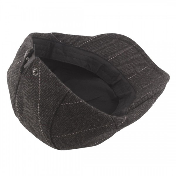 CAP-1 - Men's Newsboy Baker Boy Herringbone Flat Cap Hat - Brown