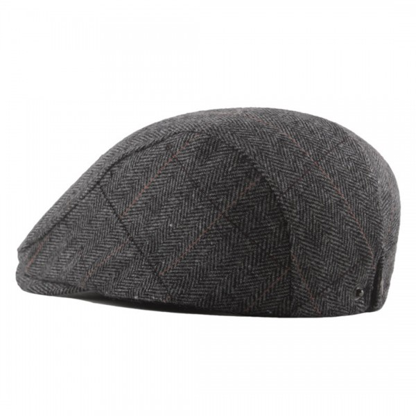 CAP-1 - Men's Newsboy Baker Boy Herringbone Flat Cap Hat - Grey