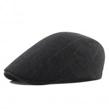 CAP-2 - Men's Newsboy Baker Boy Herringbone Flat Cap Hat - Black