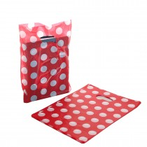 Pack of 100 Patterned Small Plastic Carrier Bags Red Polka Dot