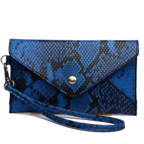 E0501 - Miss Lulu Small Snakeskin Pattern Envelope Purse Clutch Blue