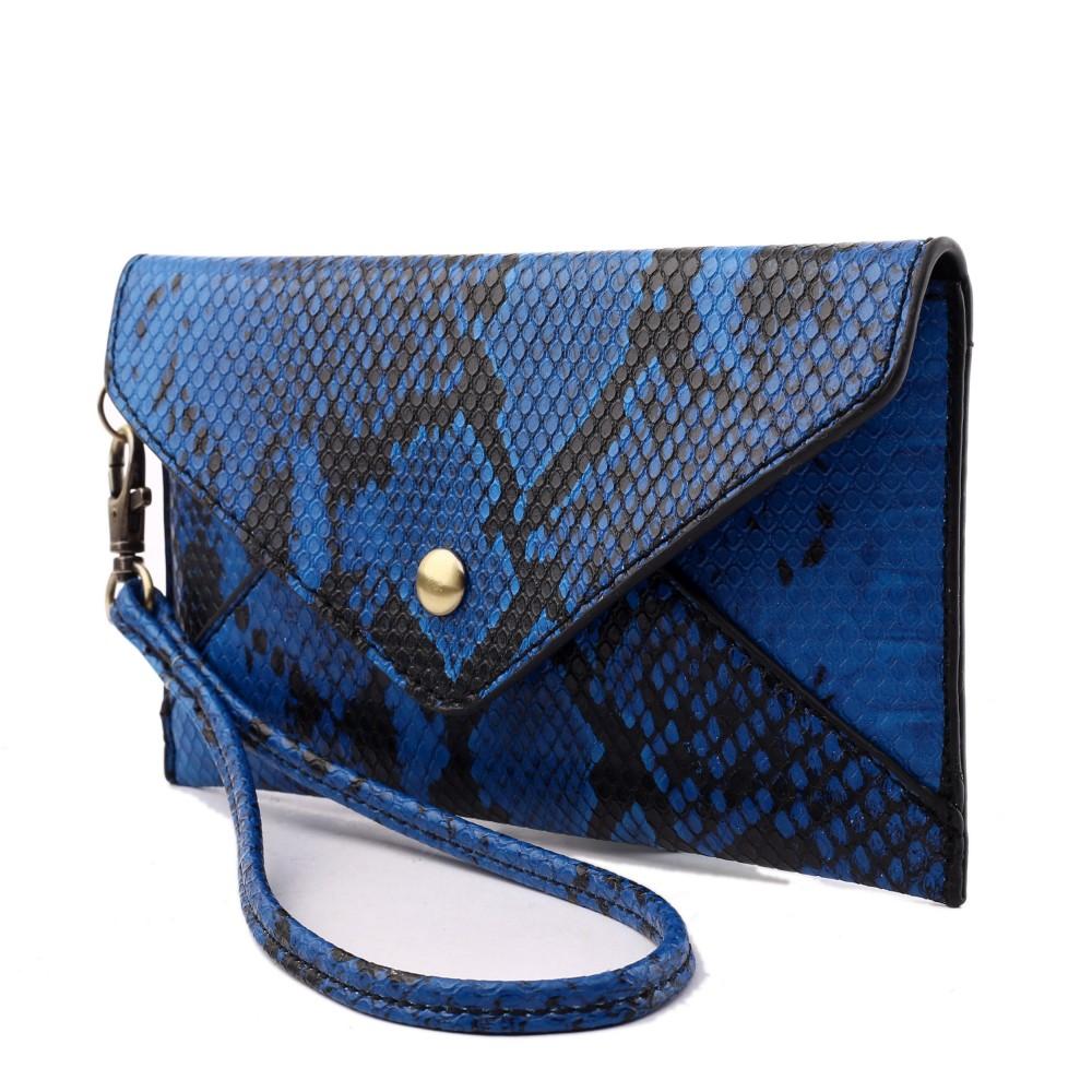 f6cd0c411a677 E0501 - Miss Lulu Small Snakeskin Pattern Envelope Purse Clutch Blue