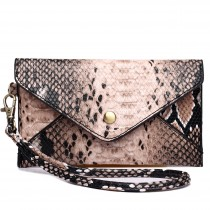 E0501 - Miss LuluSmall Snakeskin Pattern Envelope Purse Clutch Brown