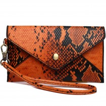 E0501 - Miss Lulu Small Snakeskin Pattern Envelope Purse Clutch Orange